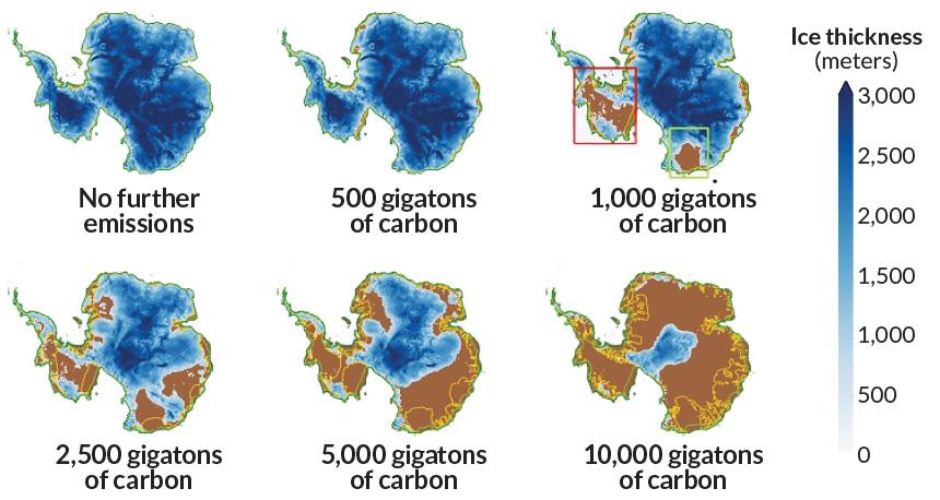 Antarctic ice under emissions scenarios