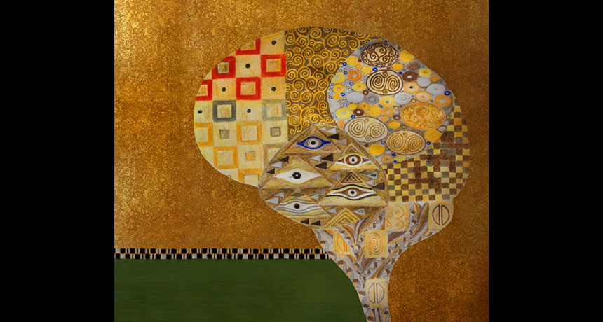 Brain mosaic artwork