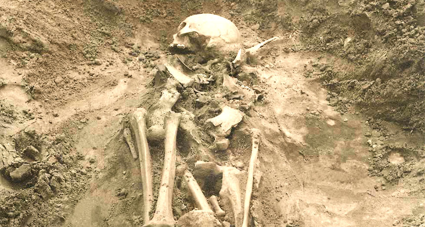 human skeleton at Estonian site