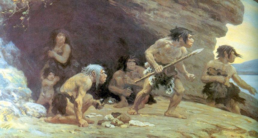 illustration of Neandertals
