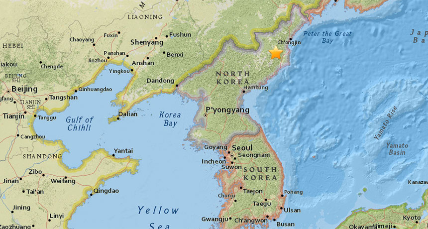 Map of North Korea nuclear test site