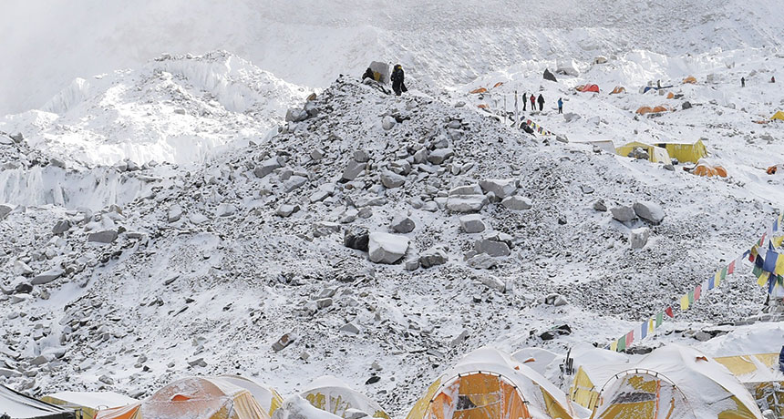avalanche on Mt. Everest