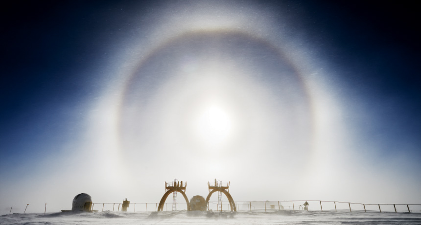 ring in sky over Antarctica