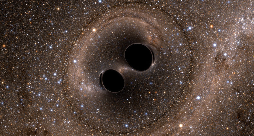 illustration of two black holes colliding