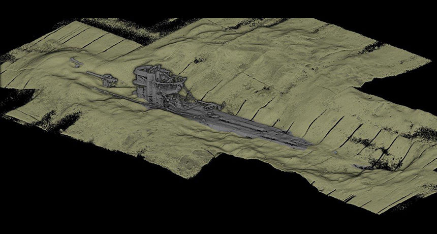 3D scan with World War II U-boat