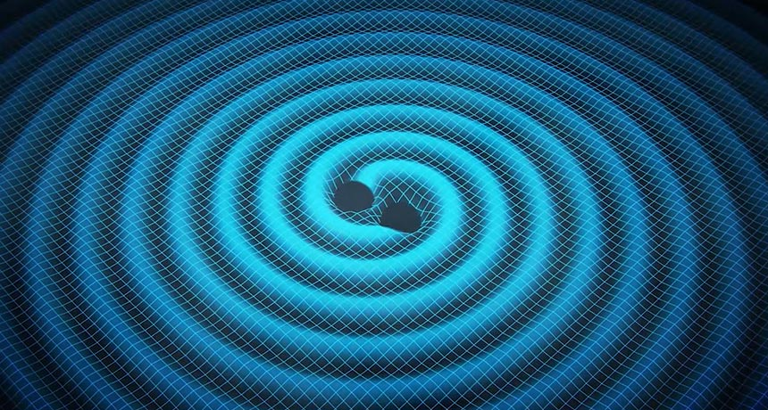 illustration of gravitational waves from two black holes