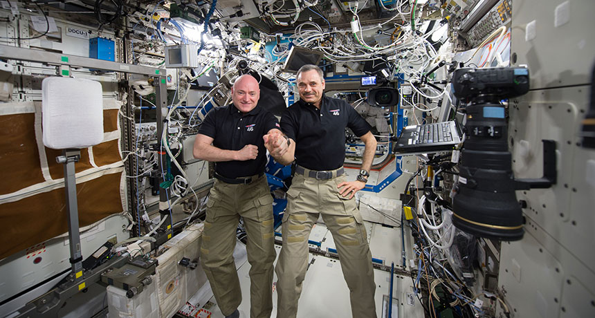 Scott Kelly and Mikhail Kornienko