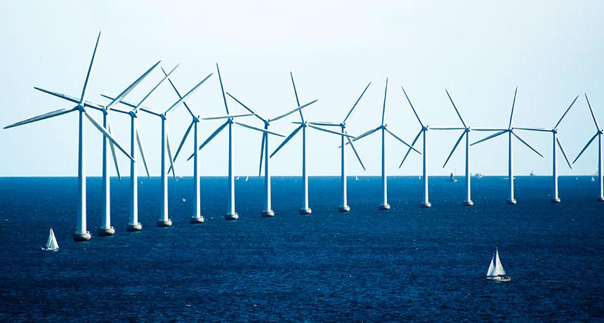 wind farm in sea off coast of Denmark
