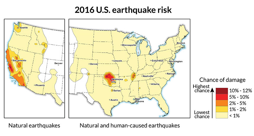 Map Of California Quake.Quake Risk In Parts Of Central U S As High As In Fault Filled