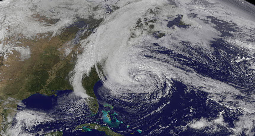 Superstorm Sandy as seen from space