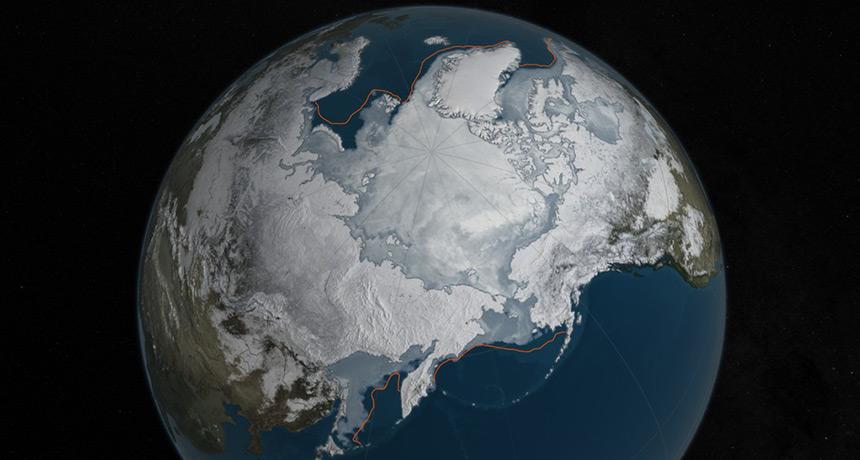 visualization of sea ice maximum for 2016