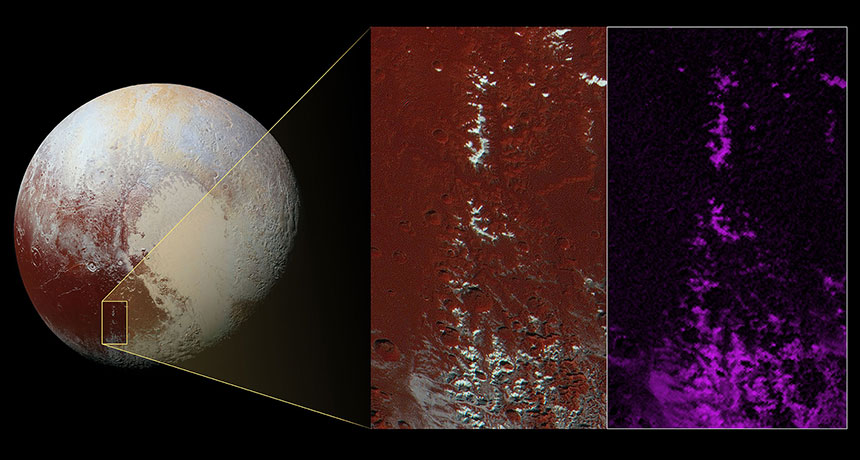 Pluto and magnified images of mountains