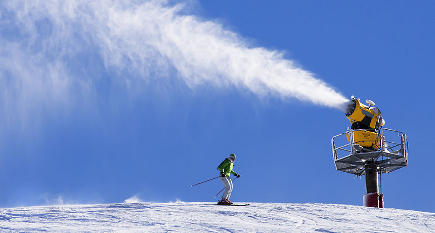 artificial snow on a ski slope