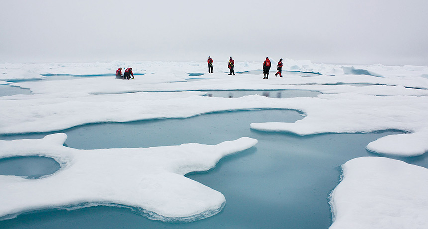 scientists on Arctic ice