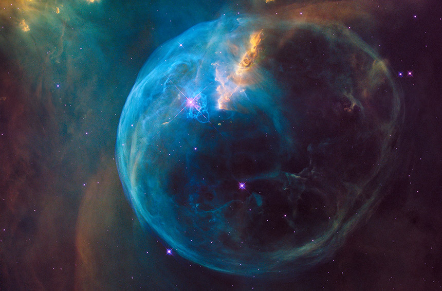 Hubble image of star and bubble of gas