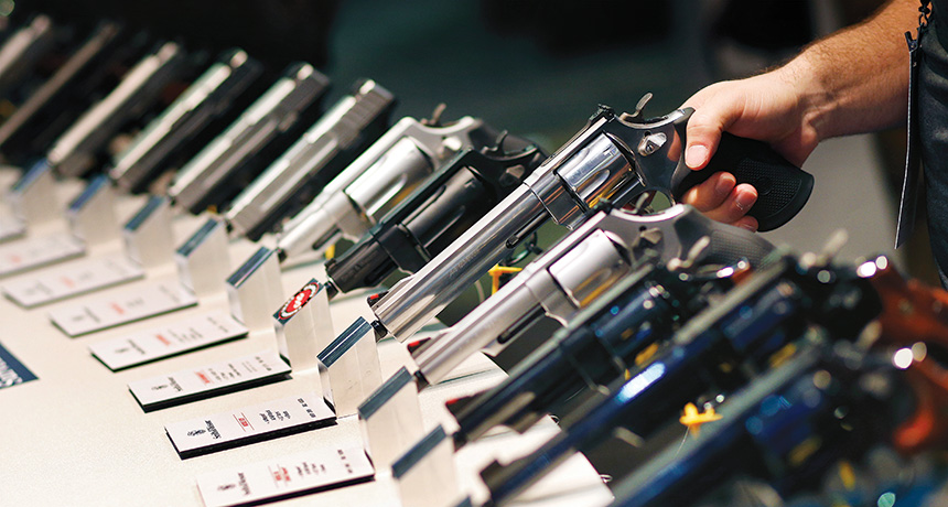 Handguns at a gun show in Las Vegas