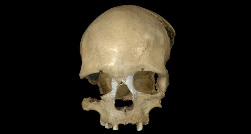 female skull from Pestera Muierii cave