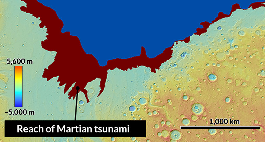 Martian coastline map