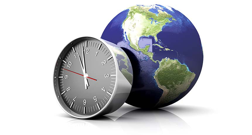 illustration of a clock and earth