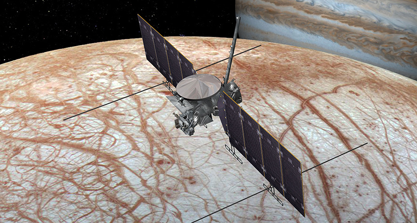 Illustration of spacecraft flying by Europa