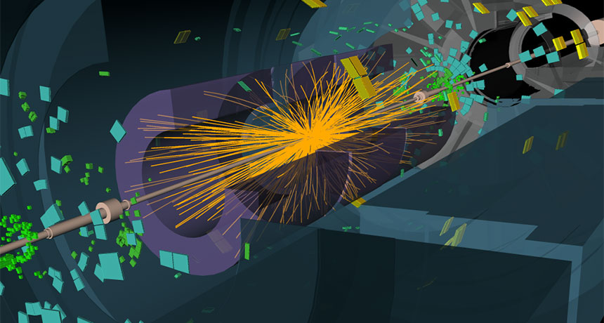 illustration of particle collisions at LHC