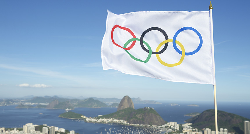 Olympic flag over Rio
