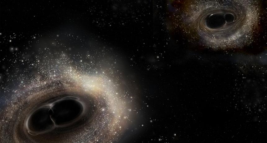 two black holes merging