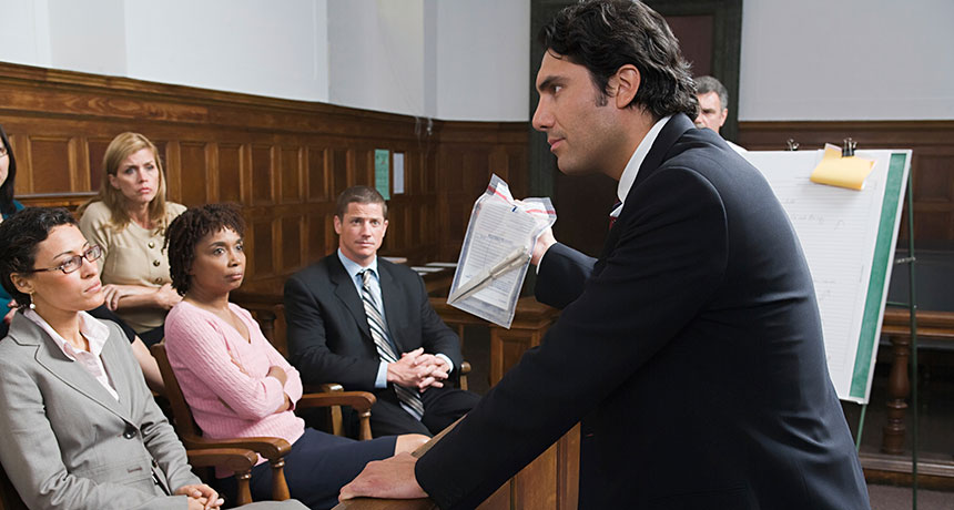 lawyer presenting evidence to a jury