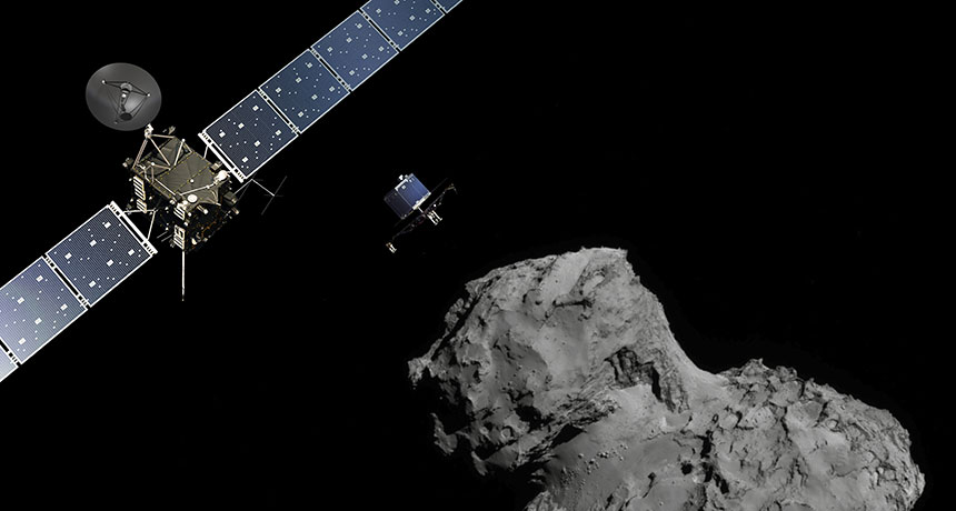 illustration of Rosetta and Philae approaching comet 67/P