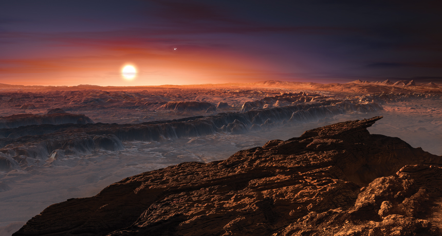 illustration of the surface of Proxima b