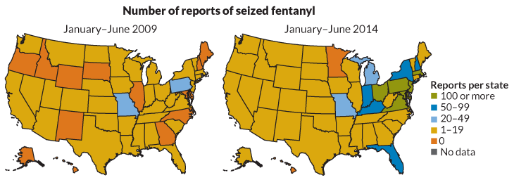 maps of fentanyl seizures, 2009 and 2014