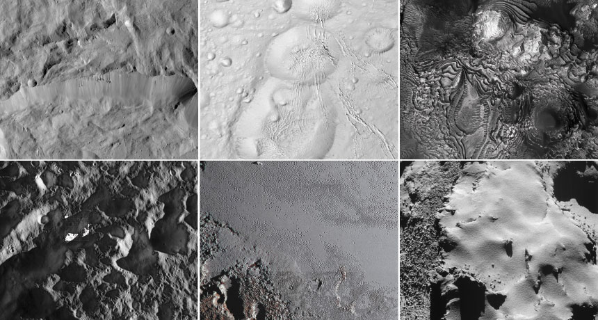 collage of images of planets, moons, comet