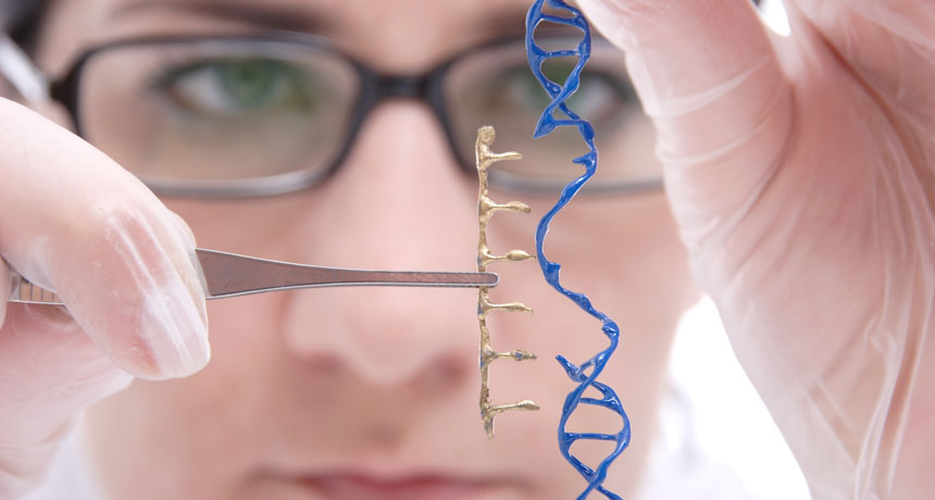 scientist cutting model of DNA