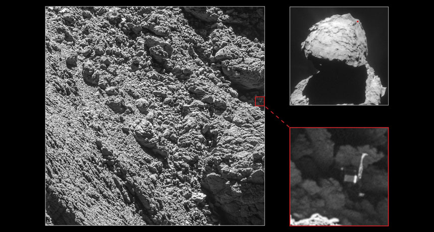 Rosetta images of Philae lander on comet 67P