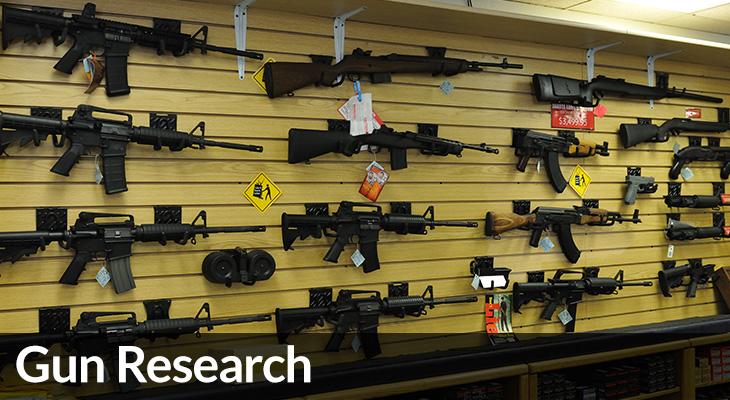 Gun Research: photo of wall of guns