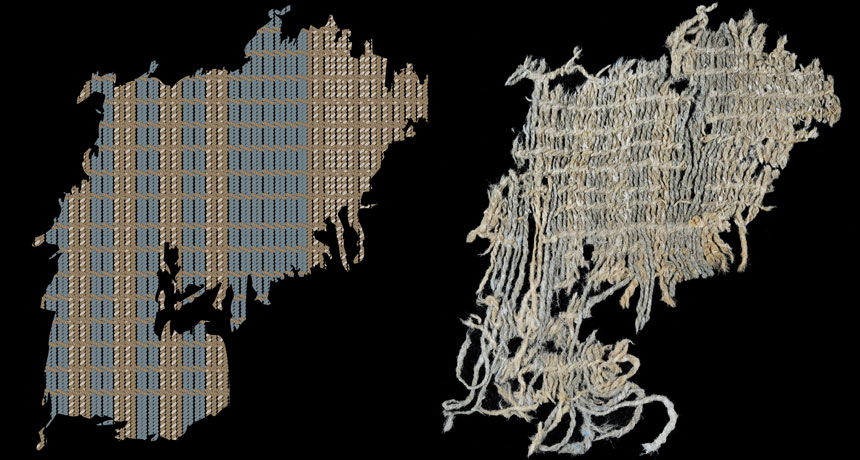 patch of cloth with blue yarn