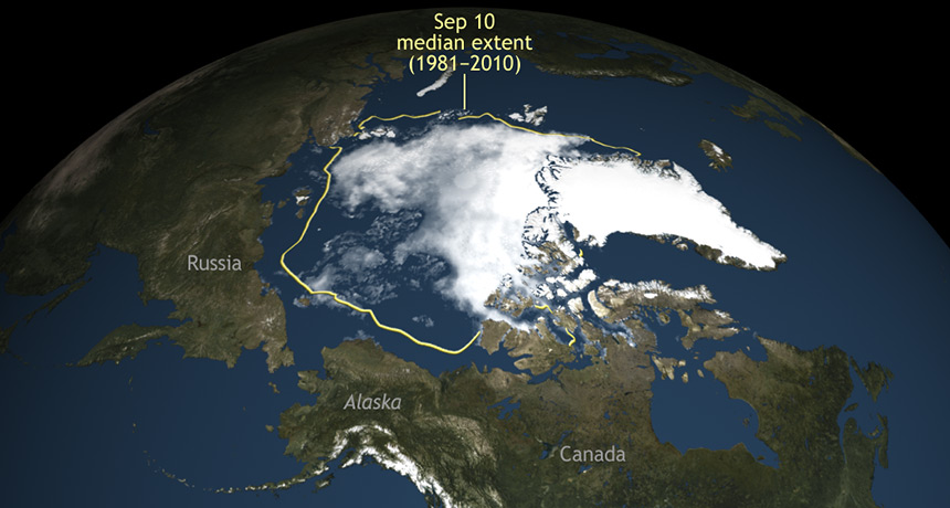 satellite image of Arctic sea ice minimum extent for 2016