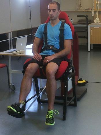 volunteer doing muscle test