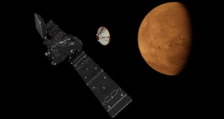 Schiaparelli lander, illustrated over Mars