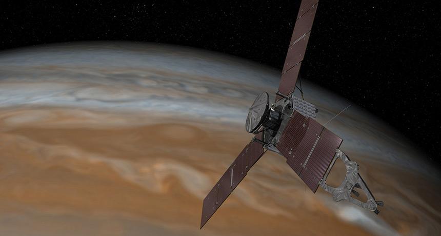 illustration of Juno probe over Jupiter