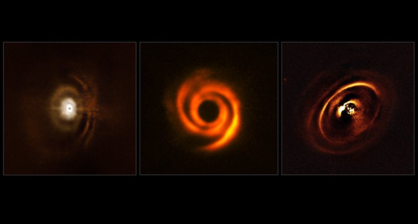 three images of protoplanetary disks around stars