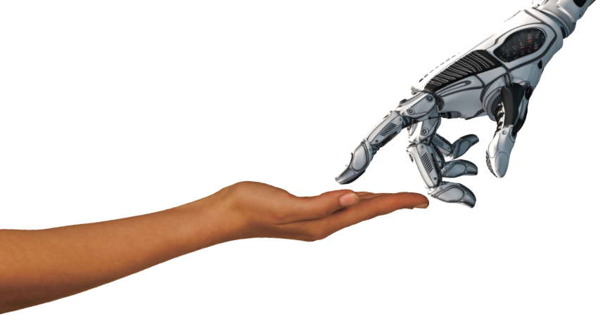 image of robot hand touching human hand