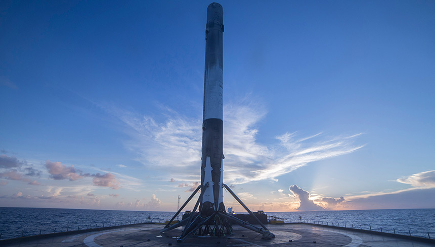 SpaceX Falcon 9 rocket on a barge