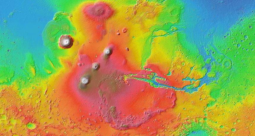 Mars' volcano-filled Tharsis region
