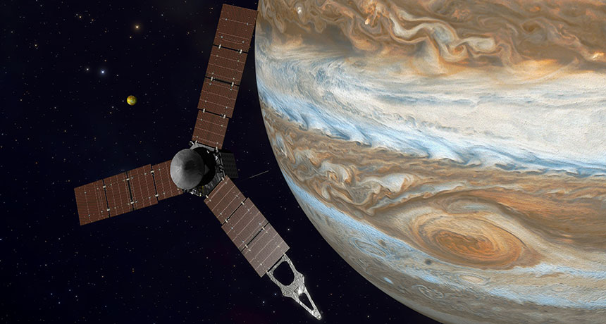 illustration of Juno spacecraft at Jupiter