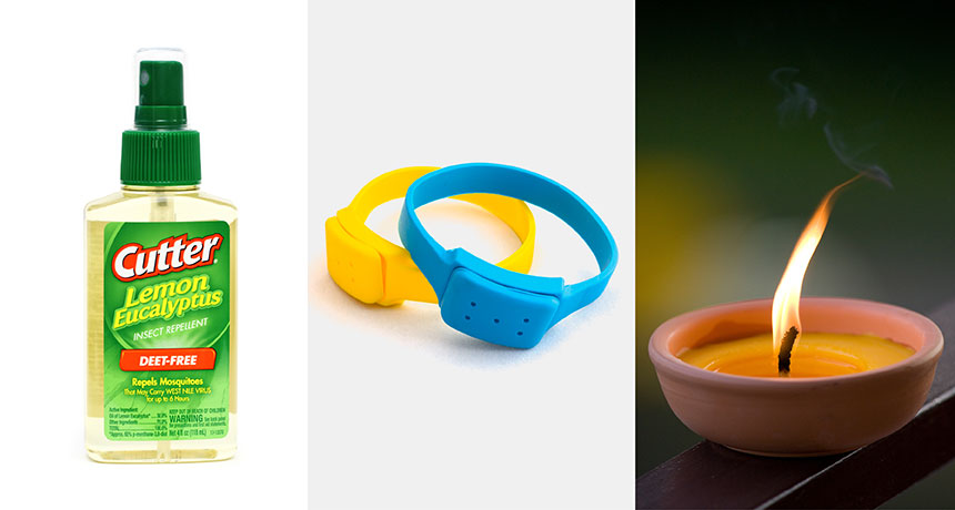 bug spray, repellent bracelet and a citronella candle
