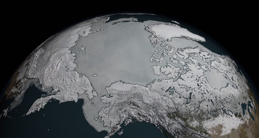 image of Arctic sea ice on March 7, 2017