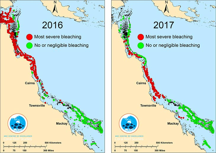 map of 2016 and 2017 bleaching events