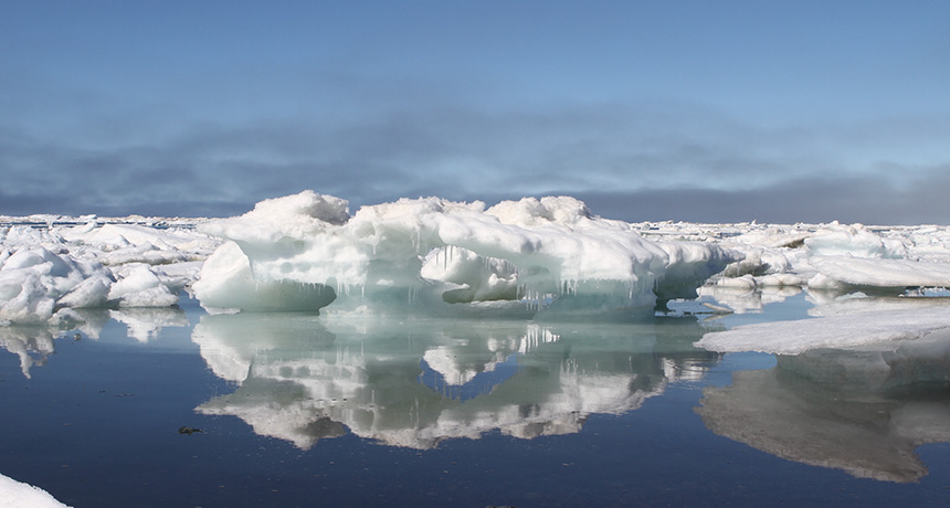 Melting sea ice in Barrow, Alaska