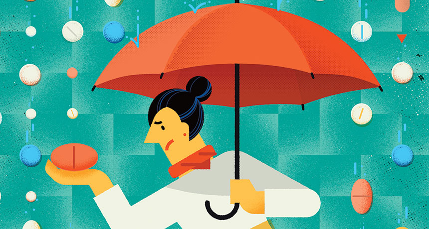 illustration of man with umbrella under raining statins